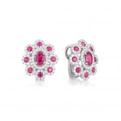 18k White Gold Diamond and Ruby Earrings