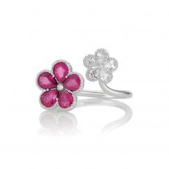 18k White Gold Flower Ruby and Diamond Ring