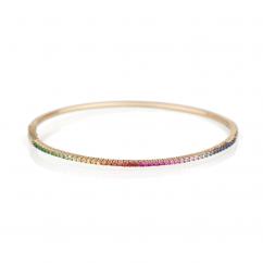 14k Gold and Rainbow Multi Gemstone Bracelet