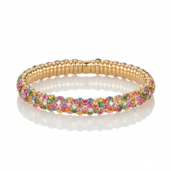 18k Gold and Multi Sapphire Stretch Bracelet