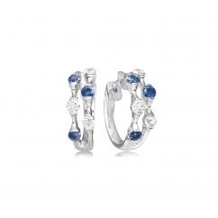Wave 18k Diamonds and Sapphire Earrings