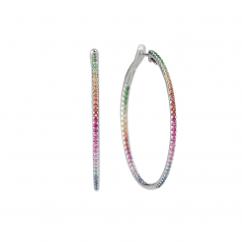 14k Gold and Rainbow Multi Gemstone Hoop Earrings