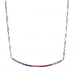 14k White Gold and Rainbow Gemstone Necklace
