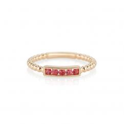 14k Yellow Gold and Orange Sapphire Ring