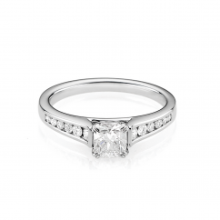 Hamilton Cherish Channel Set 18k Gold and Cushion 1.00CT Diamond Ring