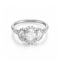 Platinum 3 Stone Oval Diamond Engagement Ring