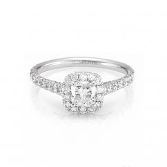 Lisette 18k Gold and Cushion Diamond Single Halo Engagement Ring