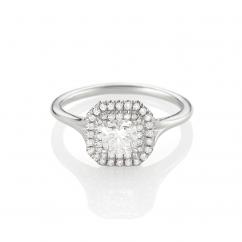 Lisette Platinum and Cushion Diamond Engagement Ring