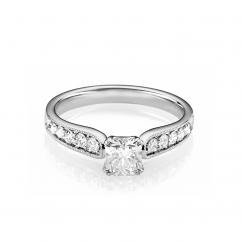 Hamilton Cherish Milgrain Bead Set 18k Gold and Cushion .75CT Diamond Ring