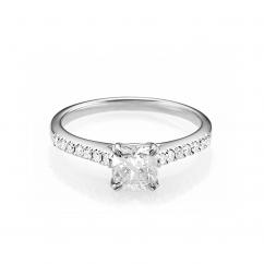Hamilton Cherish Micro Prong 18k Gold and .75CT Cushion Diamond Ring
