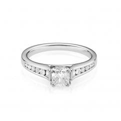 Hamilton Cherish Channel Set 18k Gold and .75CT Cushion Diamond Ring