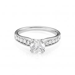 Hamilton Cherish Milgrain Bead Set 18k Gold and 1.00CT Round Diamond Ring