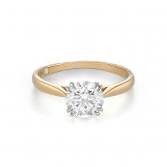 Hamilton Centennial 18k Yellow Gold and 1.24CT Round Diamond Engagement Ring