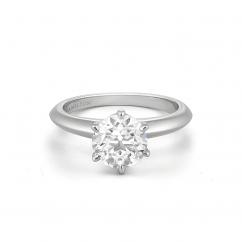 Embrace Platinum Engagement Ring For Round Diamond