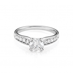 Hamilton Cherish Milgrain Bead Set 18k Gold and .50CT Round Diamond Ring