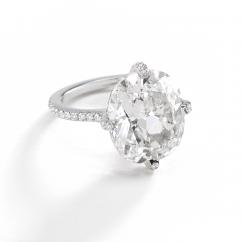 Platinum and Cushion Diamond Ring