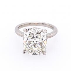 Platinum and Cushion Diamond 5.79CT Engagement Ring GIA