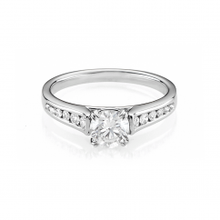 Hamilton Cherish Channel Set 18k Gold and .75CT Round Diamond Ring