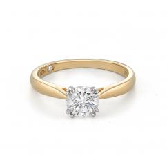 Hamilton Centennial 18k Yellow Gold and .73CT Round Diamond Engagement Ring