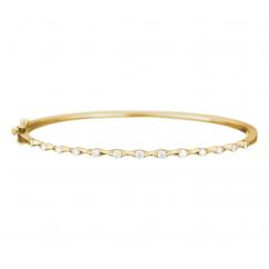 Wave 18k Yellow Gold Diamond Bangle Bracelet