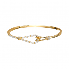 Love Knot 18k Yellow Gold and Diamond Bangle