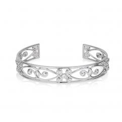 Arabesque 18k White Gold and Diamond Cuff Bracelet