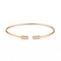 18k Gold and Diamond End Cap Cuff Bracelet