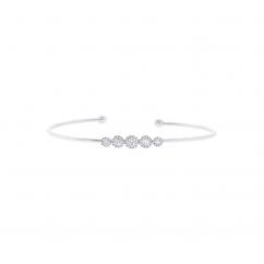 14k White Gold and 5 Diamond Halo Bracelet