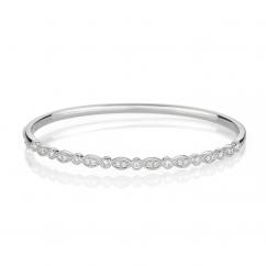 Heritage 18k White Gold and .52TW Bangle Bracelet