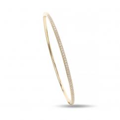 Classic 18k Yellow Gold and .50TW Diamond Bangle Bracelet