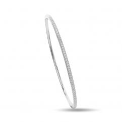 Classic 18k White Gold and .50TW Diamond Bangle Bracelet