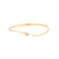 1970's 18k Yellow Gold and Pear Shape Diamond Cuff Bracelet