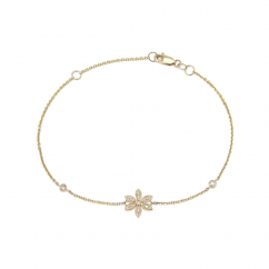 14k Yellow Gold and Diamond Flower Bracelet