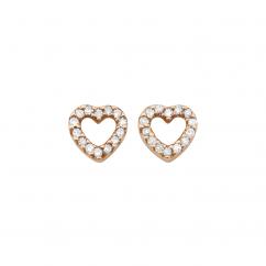 14k Gold and Diamond Heart Earrings