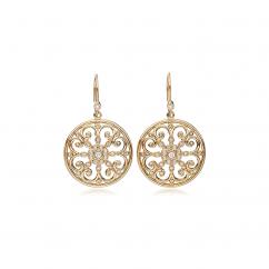 Arabesque 18k Gold and Diamond Round Earrings