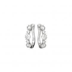 Classic 18k Gold and Graduated Diamond Hoop Earrings