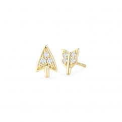 Barbela Design 14k Yellow Gold and Diamond Broken Arrow Earrings