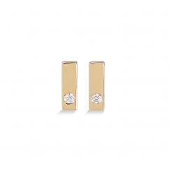 14k Yellow Gold Mini Diamond Bar Earrings