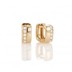 Mercer 18k Yellow Gold and Diamond Huggie Earrings