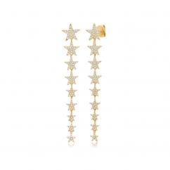 14k Yellow Gold and Diamond Star Earrings