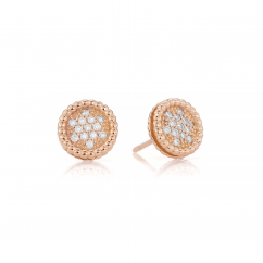 1970's 18k Rose and Diamond Earrings