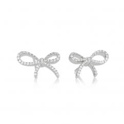 18k White Gold and Diamond Bow Earrings