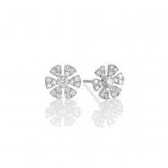 Fleur 18k White Gold and Diamond Stud Earrings