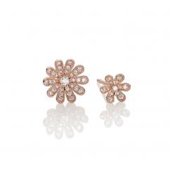 Fleur 18k Rose Gold and Diamond Stud Earrings