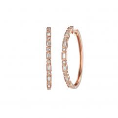 Heritage 18k Rose Gold and Baguette Diamond Hoop Earrings