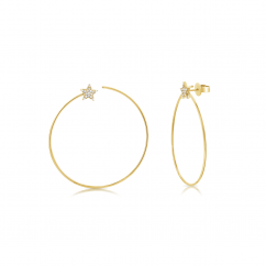 14k Yellow Gold Circle and Diamond Star Earrings