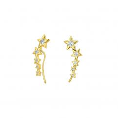 14k Gold and Diamond Star Ear Climbers