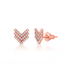 14k Rose Gold and Diamond Triple Chevron Earrings