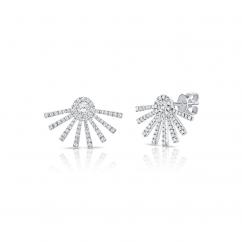 14k White Gold and Diamond Fireworks Stud Earrings