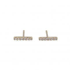 14k Yellow Gold and Diamond Bar Stud Earrings